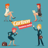 Business Woman Happy Smiling Lady Characters Set Stock Images