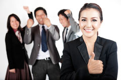 Business women with her success team Stock Images