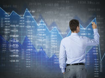 Businessman drawing virtual chart , finance business Stock Image