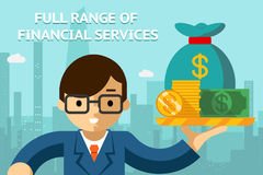 Businessman with full range of financial services Stock Photo