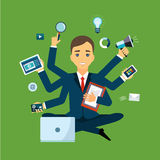 Businessman with multitasking and multi skill Royalty Free Stock Images
