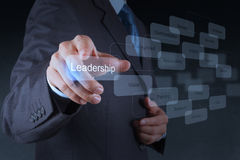 Businessman pointing to  leadership skill concept Stock Photo