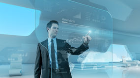 Businessman press graph future technology touchscreen interface Royalty Free Stock Images