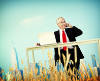 Businessman Relaxation Freedom Happiness Getaway Concept Stock Images