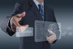 Businessman shows logistics diagram as concept Royalty Free Stock Photos