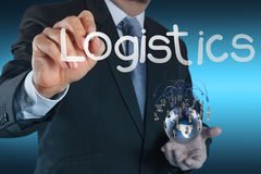 Businessman shows logistics diagram as concept Stock Photo