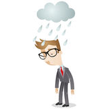 Businessman standing in the rain Royalty Free Stock Image