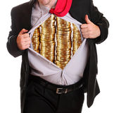 Businessman tearing his shirt piles coins on it Royalty Free Stock Photo