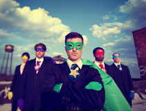 Businessmen Superhero Team Confidence Concepts Royalty Free Stock Photos