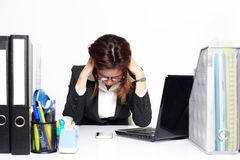 The businesswoman Asian serious and busy with trouble her working Royalty Free Stock Photo
