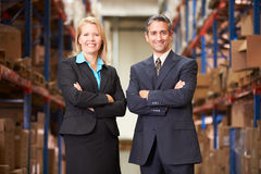 Businesswoman And Businessman In Distribution Warehouse Royalty Free Stock Photo