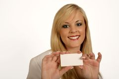Businesswoman hands, woman holding Card Stock Photo
