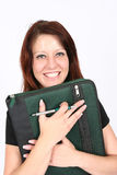 Businesswoman holding file Stock Photo