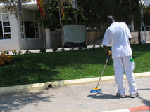 BW Street Cleaner Royalty Free Stock Photos