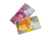 Cédula do franco suíço do CHF Imagens de Stock