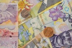 Cédula dos leus e fundo romeno da moeda da moeda Fotografia de Stock