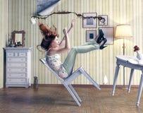 Cadute della ragazza Fotografie Stock
