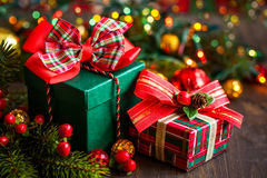 Caixas de presente do Natal Fotos de Stock Royalty Free