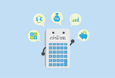 Calculate finance with calculator Royalty Free Stock Photo