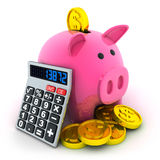 Calculate and moneybox Royalty Free Stock Photography