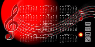 Calendar 2007 on a music background Royalty Free Stock Image