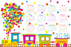 2016 calendar with cartoon train for kids Royalty Free Stock Photography
