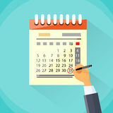 Calendar Hand Draw Pen Red Circle Date Last Day Royalty Free Stock Photography