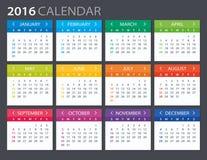 2016 Calendar - illustration. Stock Photos