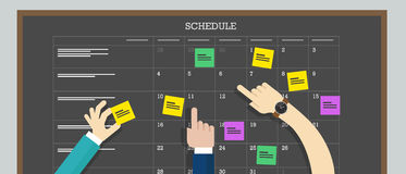 Calendar schedule board with hand plan Stock Image