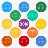 2016 calendar in seasonal colors Royalty Free Stock Photography