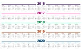 Calendar 2016 2017 2018 2019 2020 Royalty Free Stock Photo