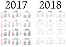Calendar for 2017 and 2018 Royalty Free Stock Photos
