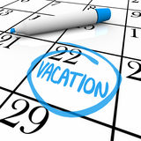 Calendar - Vacation Day Circled Royalty Free Stock Images