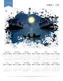 Calendar vector template 2016 with sea fishing landscape Stock Photo
