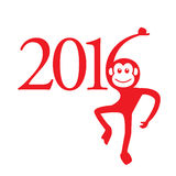 Calendar 2016 Year of the Monkey: Chinese Zodiac Sign Royalty Free Stock Photography