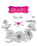 Calibre d'invitation de mariage avec des fleurs de camomille Photo stock