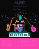 Calibre de graphique d'instruments de musique Jazz, bleus, Ba de petit pain de ` du ` n de roche Photographie stock