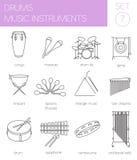Calibre de graphique d'instruments de musique tambours Photos libres de droits