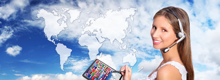 Call center operator global international communications concept Royalty Free Stock Images