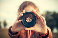 Through camera lens Stock Photos