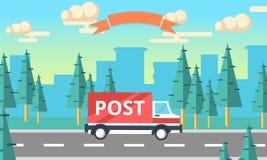 Camion de vecteur de la livraison de courrier Fourgon de service de distribution Photos libres de droits