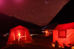 Camping night scene Royalty Free Stock Photos