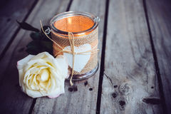 Candle in a decorative jar Stock Photography