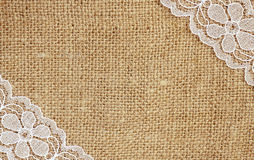 Canvas with white lace Stock Photography