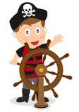 Capitaine de pirate au gouvernail de direction Photographie stock libre de droits