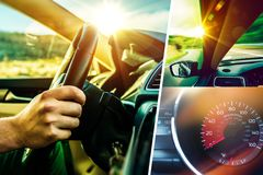 Car and Driver Collage Royalty Free Stock Photo