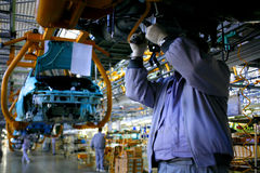 Car factory assembly line Royalty Free Stock Photography