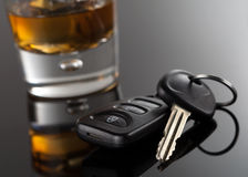 Car Keys and Alcoholic drink Royalty Free Stock Photography