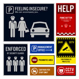 Car Park Safety and Security Signboards Royalty Free Stock Image