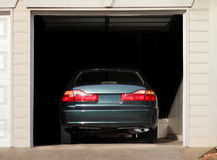 Car parked in a garage Stock Image